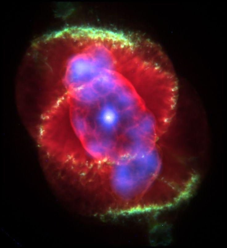 """Nebulosa do Olho de Gato. NGC 6543. """"Constelação do Dragão"""". Imagem do Telescópio Hubble."""