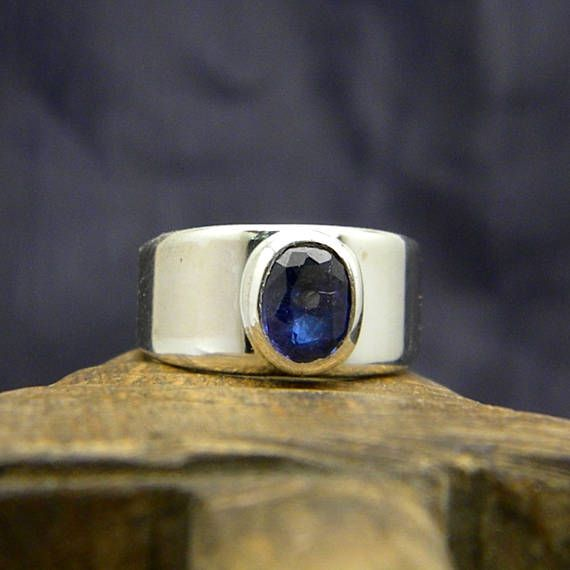 Sapphire sterling silver ring Blue sapphire stone ring