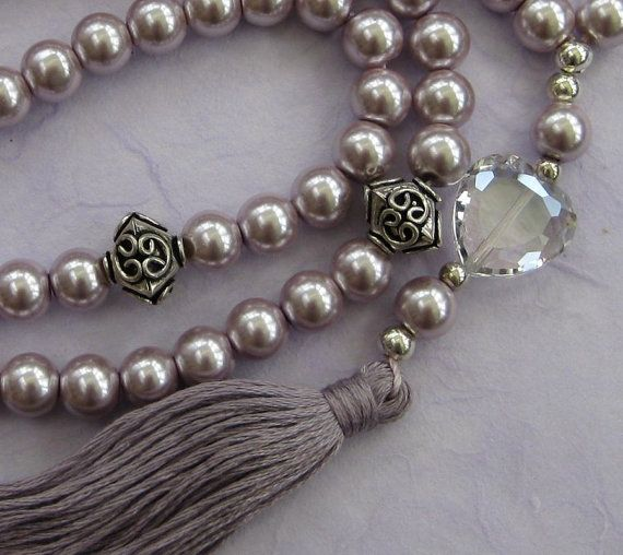 Islamic Sufi 99-bead prayer beads glossy icy lilac 8mm  painted glass pearls by BariBazaar, £25.00