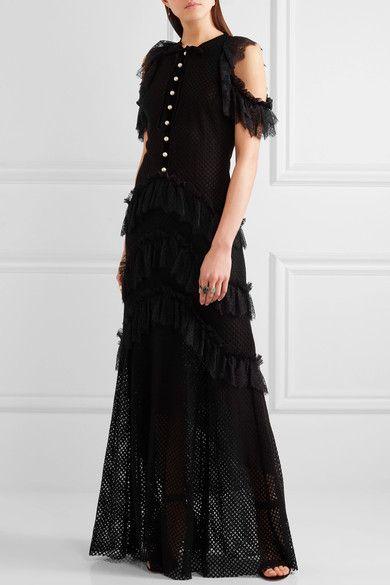 Philosophy di Lorenzo Serafini - Tiered Ruffled Cotton-blend Lace Maxi Dress - Black - IT44
