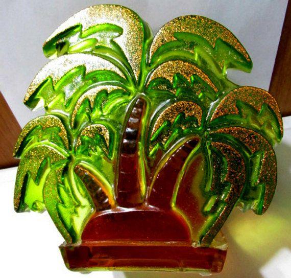 Glitter & Green Resin Palm Tree Vintage MidCentury by KulturePop