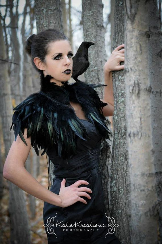 Feather high collar capelet or sharp shoulders wrap shrug dripping with black feathers Feather cape Versatile feather accessory