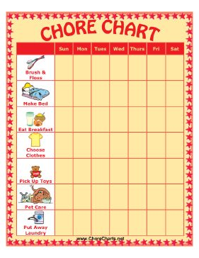 Candid image intended for printable preschool chore chart