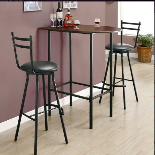 Pub Bar Table & Stools 3 Pc Dining Set Breakfast Metal Kitchen Furniture Black  #Monarch #Contemporary