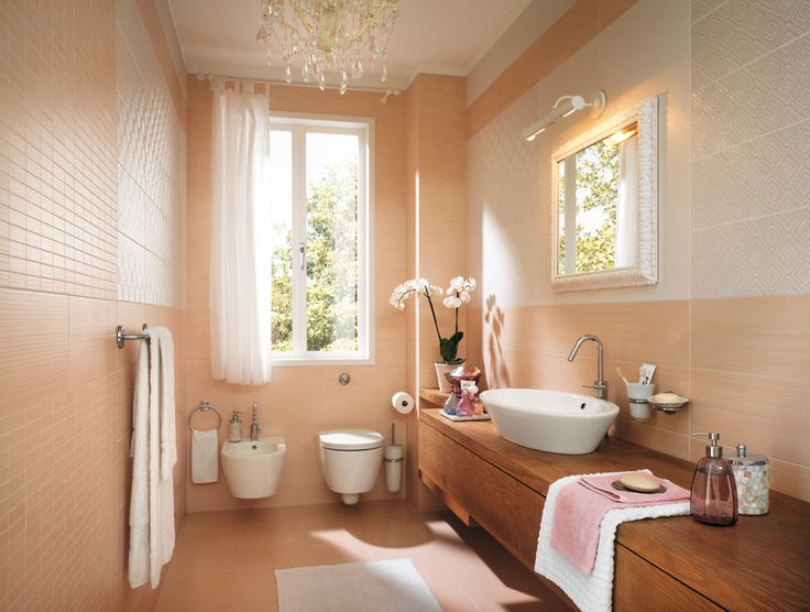Peach feminine bathroom decor - Top to Toe Lavish Bathrooms, - http://www.home-designing.com/2013/11/top-to-toe-lavish-bathrooms