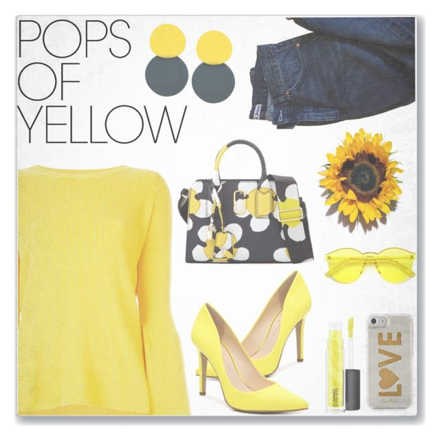 """Get Happy: Pops of Yellow"" by kays-fashion-escape ❤ liked on Polyvore featuring STELLA McCARTNEY, Acne Studios, Marc Jacobs, Edie Parker, John Lewis, yellow, polyvorecontest, polyvorefashion, PopsOfYellow and NYFWYellow"
