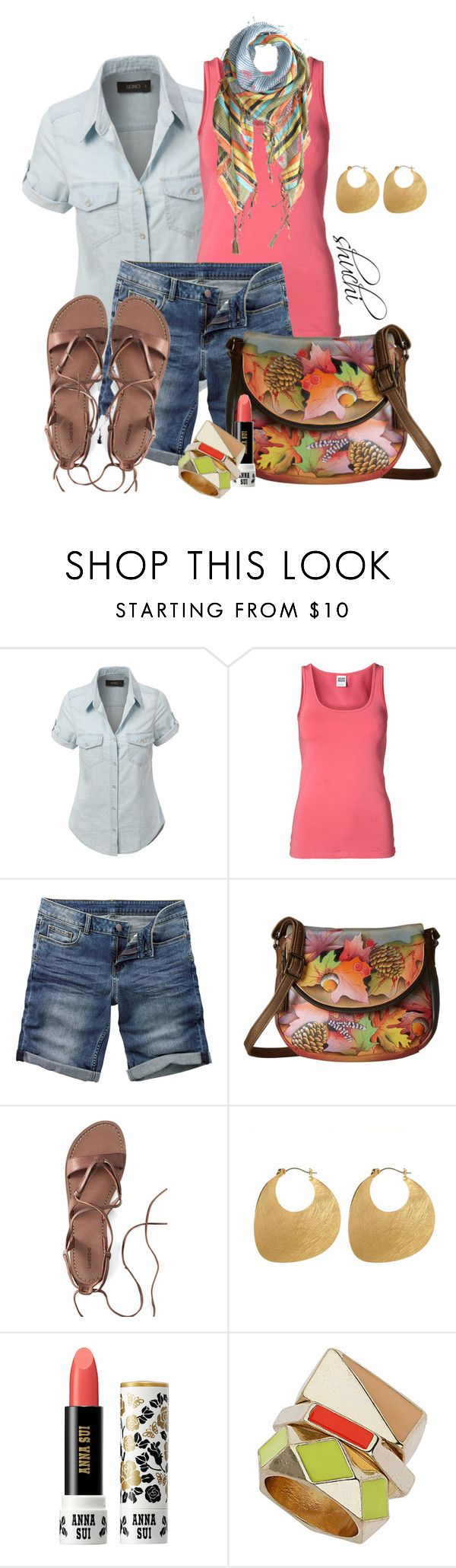 """Anuschka"" by shuchiu ❤ liked on Polyvore featuring LE3NO, Vero Moda, Fat Face, Anuschka, Canvas by Lands' End, Amrita Singh, Anna Sui, Topshop, Sete Di Jaipur and tanktop"