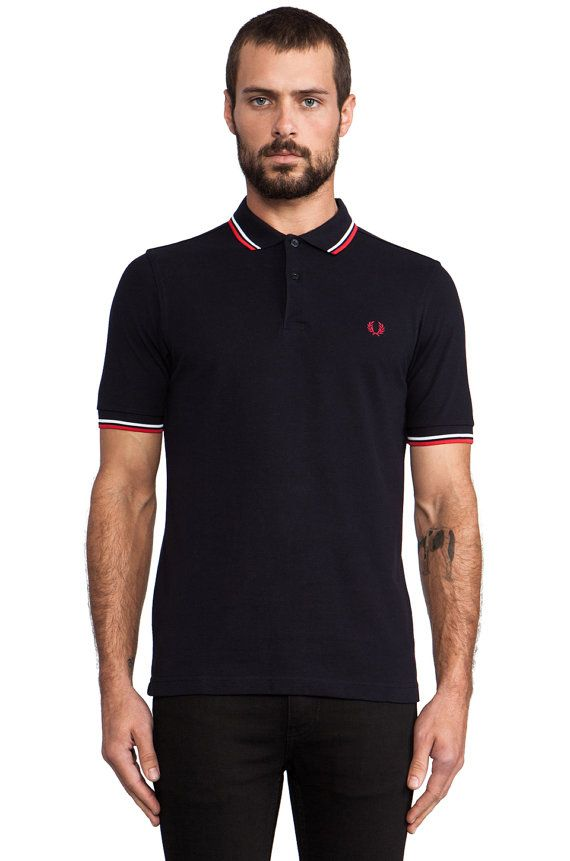polo fred perry taille l noir rouge blanc polo homme vintage style pinterest polos. Black Bedroom Furniture Sets. Home Design Ideas
