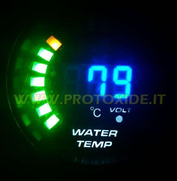 Misuratore Temperatura acqua e Voltmetro DigiLed 52mm al prezzo di 69,90 € Euro. Misuratore rotondo per la lettura della temperatura dell'acqua.
