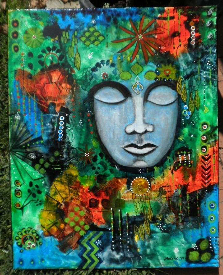 Buddha Meditation Home Decor Spiritual Energy Art - Original Painting by Astrid