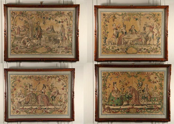 L'Enfant Prodigue, suite de quatre estampes rehaussées de couleurs, réalisées par Louis-Joseph Mondhare (1734-1799), vers 1759.