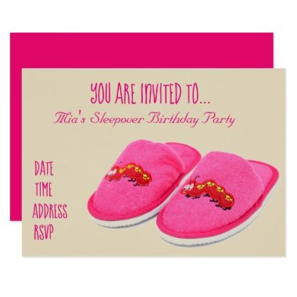 Pink slipper Slumber sleepover birthday party Card - birthday cards invitations party diy personalize customize celebration