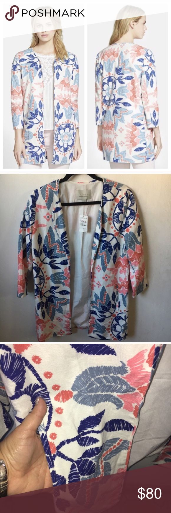 """Hinge Nordstrom Floral Jacket Blazer Size Small Hinge Nordstrom Floral Jacket Blazer Size Small, new with tags. Retail $128 🌸 An open topper spun from a sumptuous blend of cotton and linen finds spring-ready style with a refreshing floral print. - 32"""" length (size Medium) - 70% cotton, 30% linen - Machine wash cold, line dry 🌸 Purchased at Nordstrom🔹 Nordstrom Jackets & Coats"""