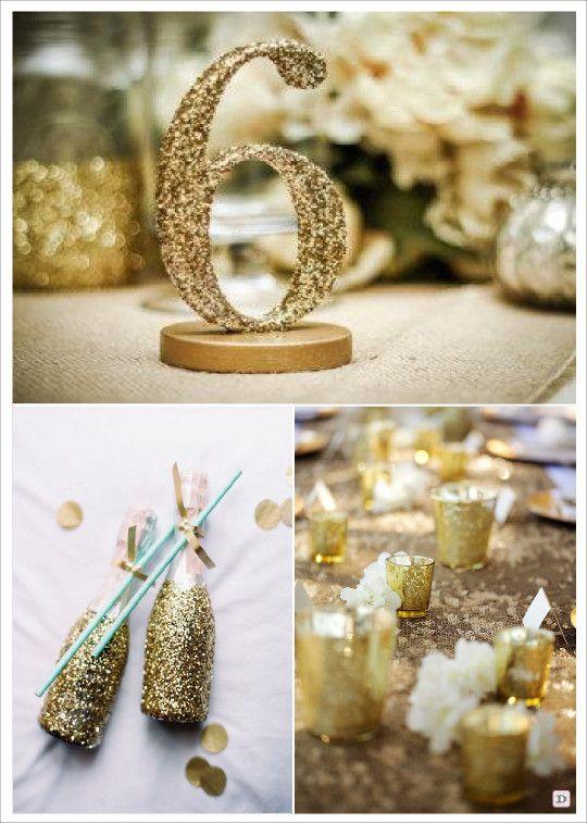 mariage paillette glitter numero de table bouteille pailletée photophore en verre mercurisé