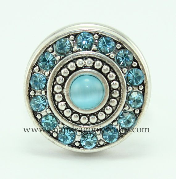1 - Light Blue Opal Stone & Crystals Snap that fits European Style SNAP Jewelry, Noosa Chunk Jewelry, Gingersnaps.    18mm size snap fits SNAP