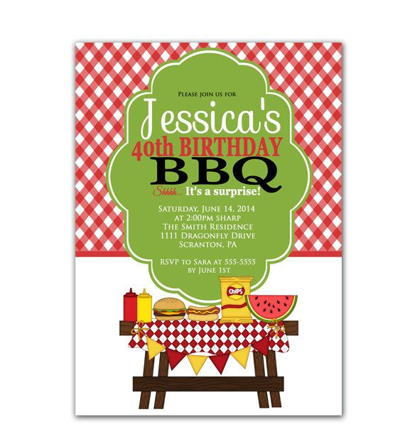 Surprise Birthday Party Invitation BBQ Barbeque Cook Out Of July Backyard Printable High JPEG File 100