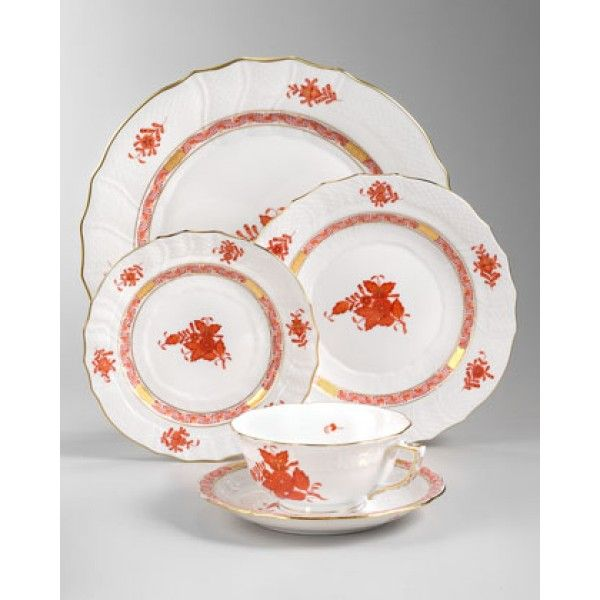 Herend - Flowers Pattern White - Brown Dinner Set