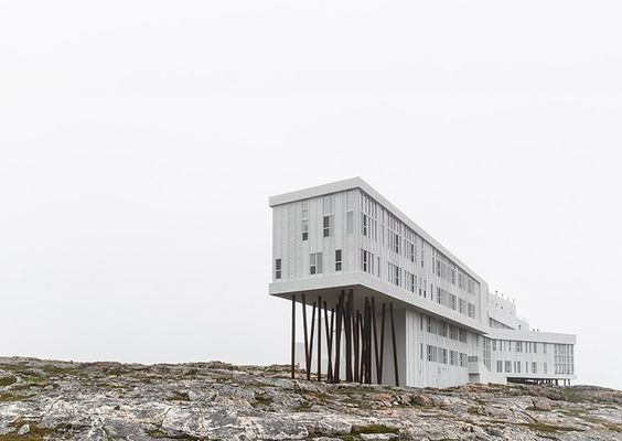 """Fogo Island Inn - Newfoundland Canada  Founder & resident Zita Cobb was once a top executive at a tech company. Today, she's back on Fogo Island, where she grew up, and her mission is to foster what she calls """"cultural resiliency."""" Her goal is to make Fogo Island an international destination for the arts, and in turn, tourists. #consideringplaces #aliceandwhittles #canada #travel  Photo: @cerealmag"""