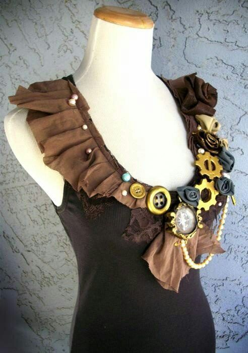 Steampunk diy - nice idea for a collar to attach to a basic knot shirt and dress it up. Put buttons on the back of the collar and align  button holes on the shirt.