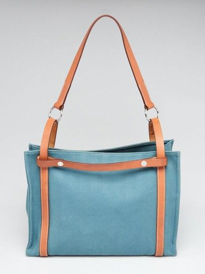 0fac13b9b Hermes Blue Chambray Canvas and Natural Vache Hunter Leather Cabalicol Tote  Bag