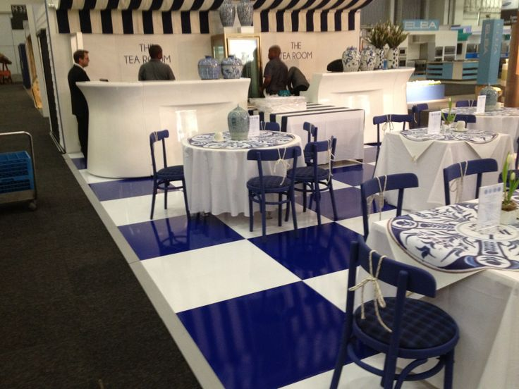 blue & white floor at expo