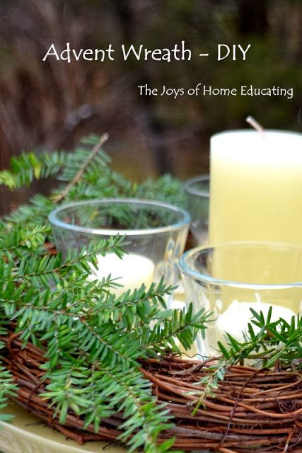 DIY Advent Wreath Learn how to make one from stuff around the house The Joys of Home Educating: Family Advent Wreath - DIY #advent #Christmas