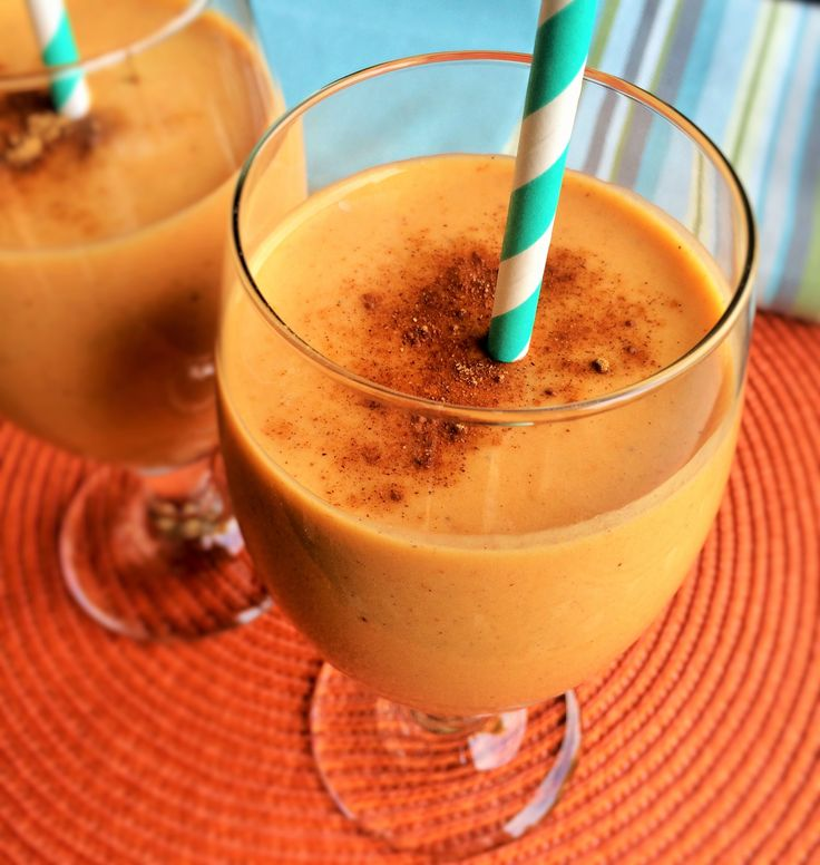 Need a yummy protein pick-me-up? Enjoy this seasonal refresher~Pumpkin Protein Smoothie.  Recipe at www.insidekarenskitchen.com