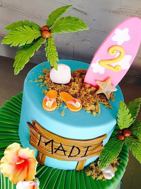 Hawaii Surfer Cake Detail