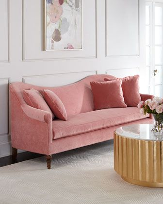 """Handcrafted scallop-back transitional sofa. Hardwood frame. Polyester/cotton velvet upholstery. Comes with four decorative pillows. Feather/down seat cushions and pillows. 93""""W x 38""""D x 39""""T; seat, 77"""