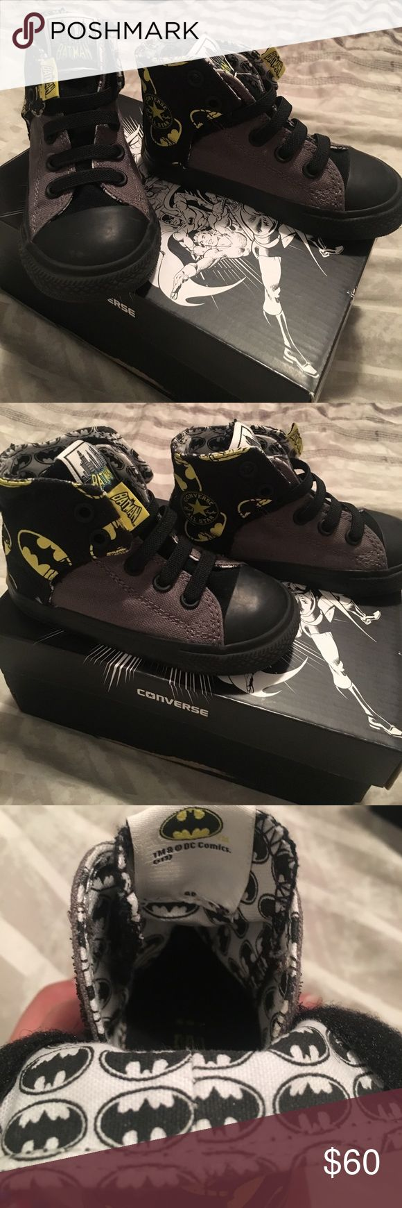 Batman Converse size 7 Rare DC Comics collab. Batman Converse. Size 7 in perfect like new condition black/dark grey/yellow/white. Elastic laces and velcro closures Converse Shoes Sneakers