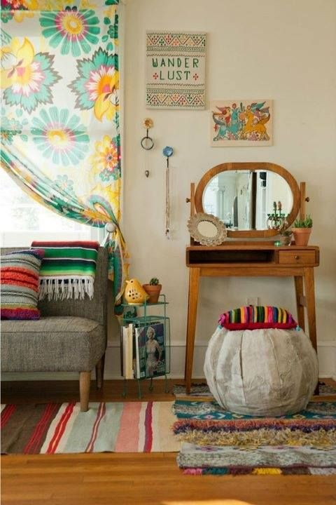 Great combo of clean lines, cheerful, natural, color AND muted tones, very subtle bohemian, and retro.