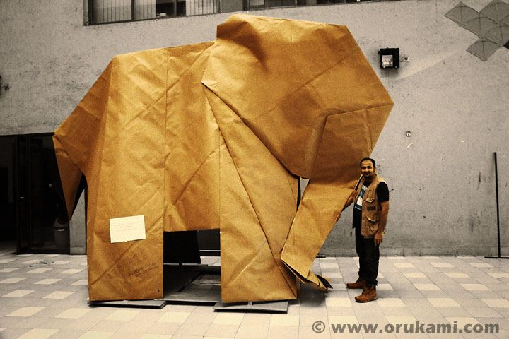 Life-sized Origami Elephant. Folded by Himanshu Agrawal in December 2013.