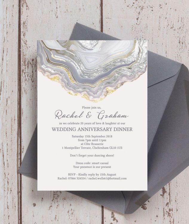 33 best wedding anniversary personalised invitations images on agate crystal silver grey wedding anniversary invitation stopboris Image collections