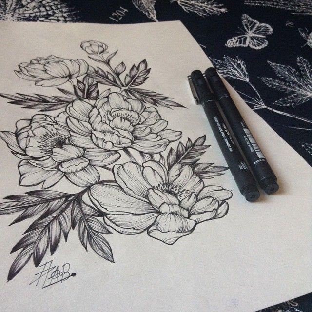 #sketch #sketchtattoo #flowers #peony #peonytattoo #пионы #цветы #love