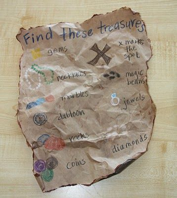 Love the idea of a treasure map to look for things in a sensory tub or in the sand box-GREAT IDEA!!