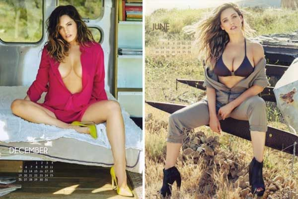 Kelly Brook undressed for a nominal calendar for 2016