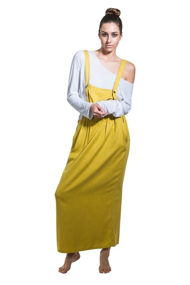 Long Bib Overall Dress - Mustard Maxi Loose Pinafore With T-Shirt