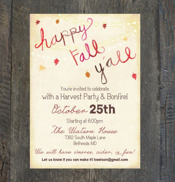 Fall Party Invitation, Harvest Party, Halloween Party, Bonfire Invitation - FALL - Digital Printable File OR Professionally Printed Cards on Etsy, $5.00