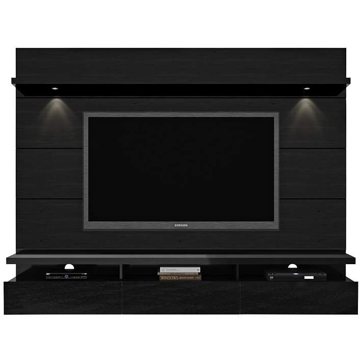 Cabrini 2.2 Black Floating Wall Entertainment Center - #1V061 | Lamps Plus