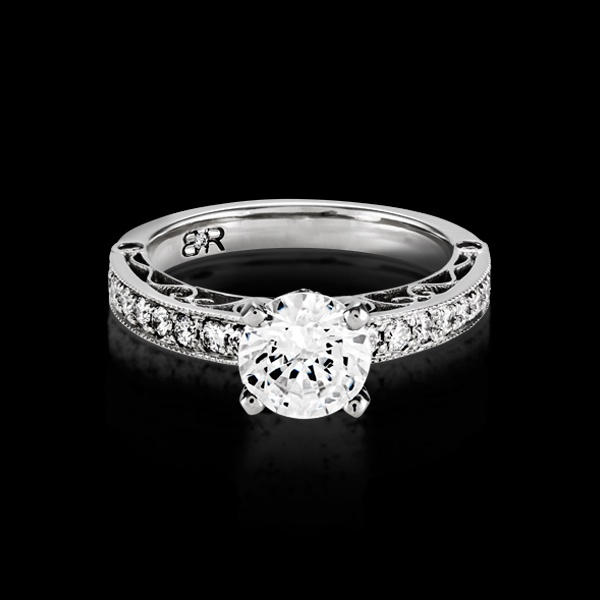 Provectus is our vintage, classic engagement ring design that is trendy but will be in style for a lifetime. The band features approximately 22 full cut diamonds.