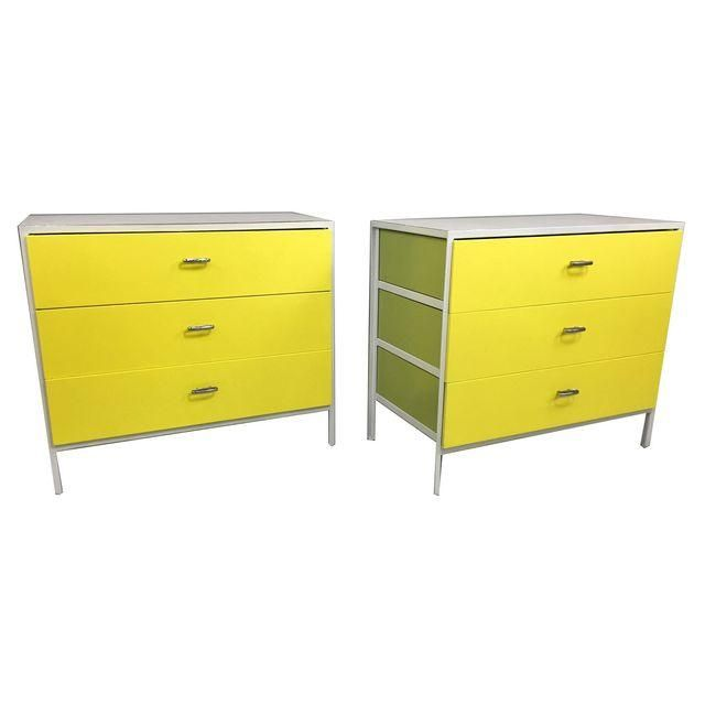 Image of Herman Miller George Nelson Yellow Chests - A Pair. guest bedroom bedside tables