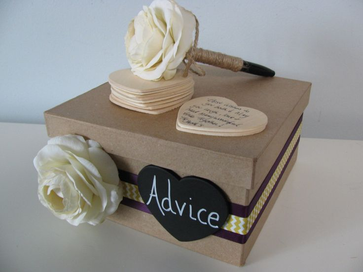 At the shower, how cute would it be to have this box sitting out? Every guest that wanted to could offer words of wisdom to the bride. After the shower they can be incorporated into a Scrap Book of the festivities and the bride can keep the box!