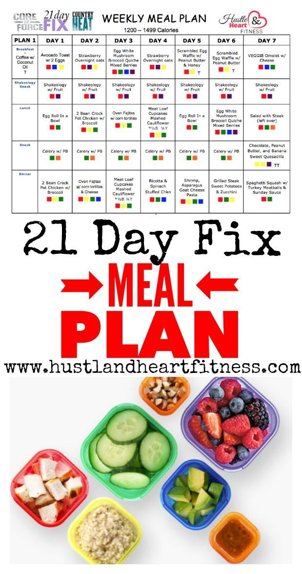Meal Plan - 21 Day Fix, Core De Force, Hammer & Chisel... Color Counting Plan