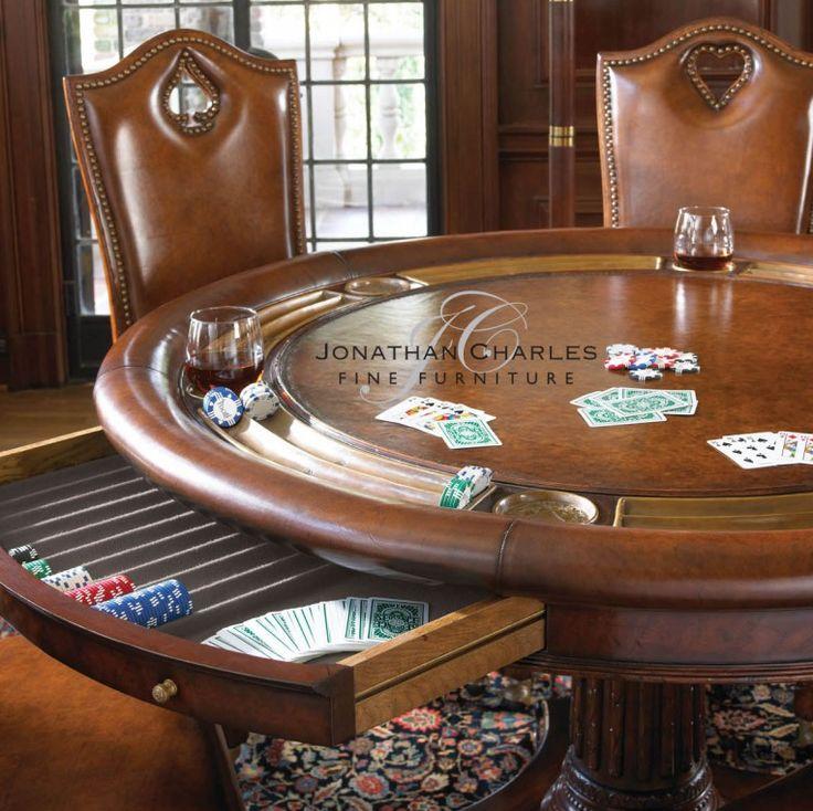 Mahogany Round Poker Table  SKU: 493366
