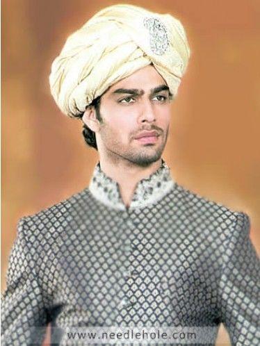 Traditional Rajasthani Wedding Turban, Silk Jamawar Fabric, Pre-Tied, Cream