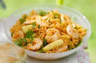 Essentials magazine, zingy rice and prawns
