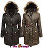 NEW LADIES QUILTED PADDED HOODED BELTED FUR LONG PARKA JACKET COAT 10 -18 in Clothes, Shoes & Accessories, Women's Clothing, Coats & Jackets | £39.99