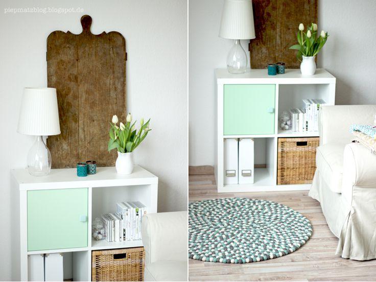 my living room corner: scandinavian/ vintage/ shabby, feltballrug, armchair, shelf, colors mint & white, old board.