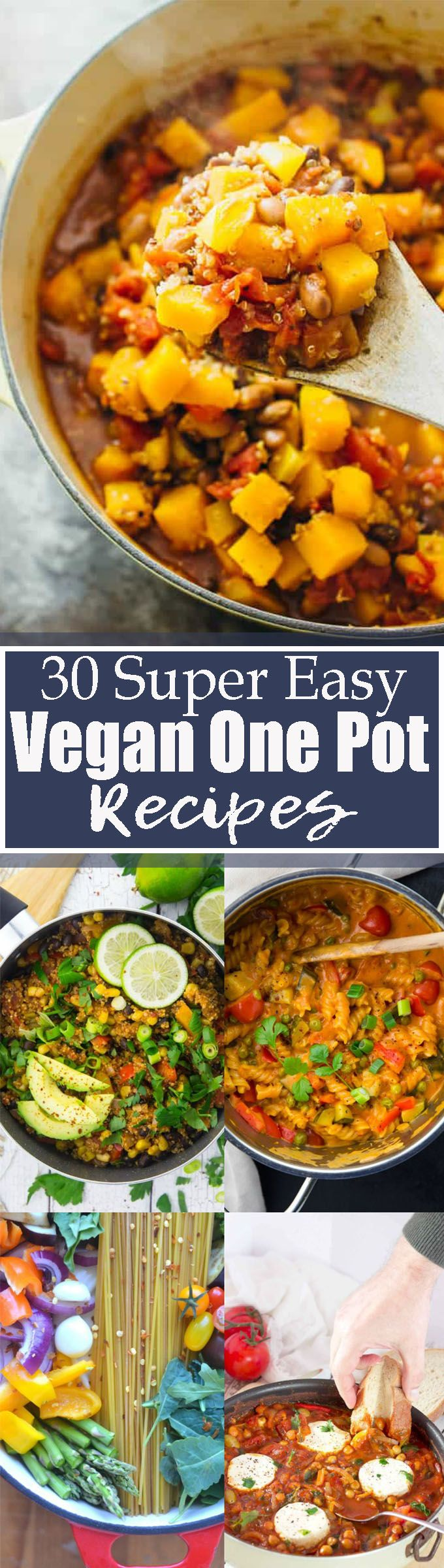 These 30 easy vegan one pot meals are perfect for busy days! All one pot recipes are super easy, healthy, and so delicious! Vegetarian recipes definitely don't have to be complicated! Find more vegan recipes at veganheaven.org <3