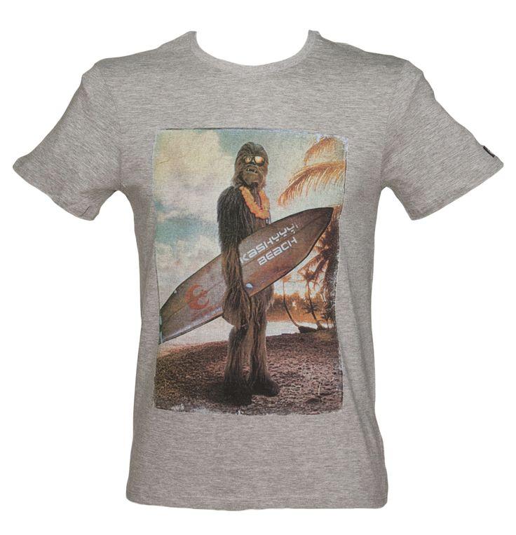 Men's Grey Surfing Wookie Star Wars T-Shirt